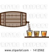 Vector Clip Art of Retro Beer Keg Barrel Pouring Light, Dark and Ale into Glasses by Patrimonio