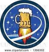 Vector Clip Art of Retro Beer Mug Rocket and Stars in a Circle by Patrimonio