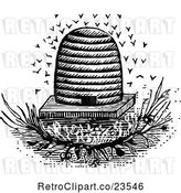 Vector Clip Art of Retro Bees and Hive 2 by Prawny Vintage