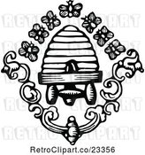 Vector Clip Art of Retro Bees and Hive by Prawny Vintage