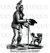 Vector Clip Art of Retro Beggar Guy and Dog by Prawny Vintage