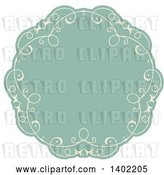 Vector Clip Art of Retro Beige and Turquoise Fancy Round Label Design Element by KJ Pargeter