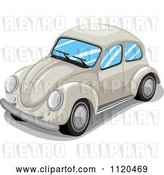 Vector Clip Art of Retro Beige VW Slug Bug Car by Graphics RF