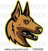 Vector Clip Art of Retro Belgian Malinois Dog Mascot Head by Patrimonio