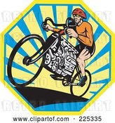 Vector Clip Art of Retro Bicyclist Riding a V8 Engine Bike over an Octogan of Rays by Patrimonio