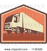Vector Clip Art of Retro Big Rig Container Truck and Trailer by Patrimonio