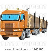 Vector Clip Art of Retro Big Rig Logging Truck by Patrimonio
