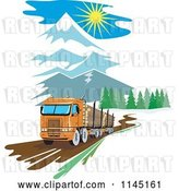 Vector Clip Art of Retro Big Rig Logging Truck in the Mountains by Patrimonio
