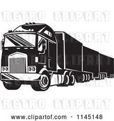 Vector Clip Art of Retro Big Rig Truck 1 by Patrimonio