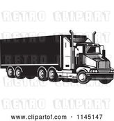 Vector Clip Art of Retro Big Rig Truck 5 by Patrimonio