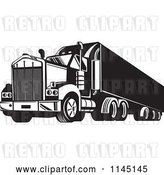 Vector Clip Art of Retro Big Rig Truck 6 by Patrimonio