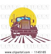 Vector Clip Art of Retro Big Rig Truck Against a Yellow Sun by Patrimonio