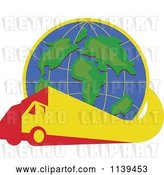Vector Clip Art of Retro Big Rig Truck Driving Around the World Globe by Patrimonio