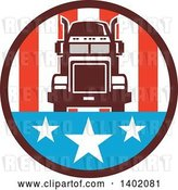 Vector Clip Art of Retro Big Rig Truck in an American Circle by Patrimonio