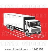Vector Clip Art of Retro Big Rig Truck on Red by Patrimonio