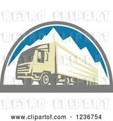 Vector Clip Art of Retro Big Rig Truck over Mountains by Patrimonio