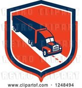 Vector Clip Art of Retro Big Rig Truck Trailer in a Red Shield by Patrimonio