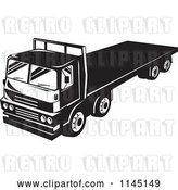 Vector Clip Art of Retro Big Rig Truck with a Flat Bed by Patrimonio