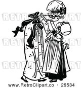 Vector Clip Art of Retro Big Sister Picking up a Girl by Prawny Vintage