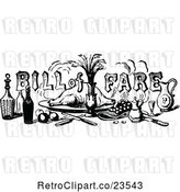 Vector Clip Art of Retro Bill of Fare Text over Food and Beverages 1 by Prawny Vintage