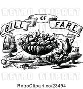 Vector Clip Art of Retro Bill of Fare Text over Food and Beverages 2 by Prawny Vintage