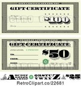 Vector Clip Art of Retro Bill Styled Gift Certificate Designs with Letters by BestVector