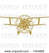 Vector Clip Art of Retro Biplane by Vector Tradition SM