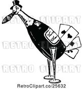 Vector Clip Art of Retro Bird Playing Card Wine Bottle by Prawny Vintage