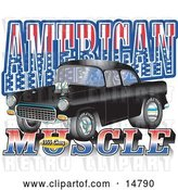 "Vector Clip Art of Retro Black 1955 Chevy Muscle Car with Text Reading ""American Muscle"" with Stars and Stripes by Andy Nortnik"