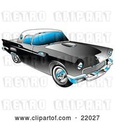 Vector Clip Art of Retro Black 1955 Ford Thunderbird Car with a White Removable Fiberglass Top and Chrome Accents by Andy Nortnik