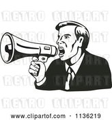 Vector Clip Art of Retro Black and Business Man Shouting into a Megaphone by Patrimonio