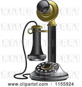 Vector Clip Art of Retro Black and Gold Candlestick Telephone by Lal Perera