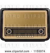 Vector Clip Art of Retro Black and Gold Radio by Lal Perera