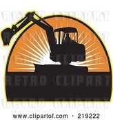 Vector Clip Art of Retro Black and Orange Excavator Logo by Patrimonio