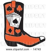 Vector Clip Art of Retro Black and Red Cowboy Boot with Playing Cards and Silhouettes of a Spade, Club, Diamond and Heart by Andy Nortnik