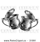 Vector Clip Art of Retro Black and White Tankards Chinking Together by AtStockIllustration