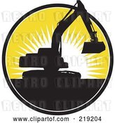Vector Clip Art of Retro Black and Yellow Excavator Logo by Patrimonio