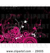 Vector Clip Art of Retro Black Background with White and Pink Splatters, Flourishes and Circles by KJ Pargeter