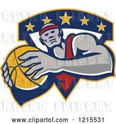 Vector Clip Art of Retro Black Basketball Player with a Ball over a Triangle with Stars by Patrimonio