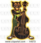 Vector Clip Art of Retro Black Cat Playing a Bass Fiddle in a Band Clipart Illustration by Andy Nortnik
