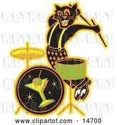 Vector Clip Art of Retro Black Cat Playing the Drums While Entertaining at a Bar Clipart Illustration by Andy Nortnik