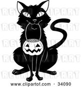 Vector Clip Art of Retro Black Cat Sitting and Carrying a Pumpkin Basket Full of Candy Corn in Its Mouth on Halloween by Lawrence Christmas Illustration