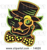 Vector Clip Art of Retro Black Cat Wearing a Hat and a Bow and a Monacle over His Eye by Andy Nortnik
