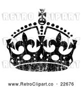 Vector Clip Art of Retro Black Crown with White Distress Overlay by BestVector