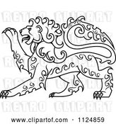 Vector Clip Art of Retro Black Curly Haired Royal Heraldic Lion by Vector Tradition SM