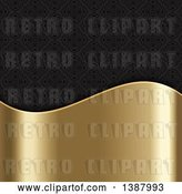 Vector Clip Art of Retro Black Damask Background with a Shiny Gold Wave Panel by KJ Pargeter