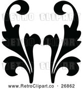 Vector Clip Art of Retro Black Floral Design Element by Prawny Vintage