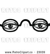 Vector Clip Art of Retro Black Frame Glasses with an Educated Senior Person's Eyes Looking Through the Lenses by Prawny Vintage