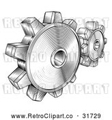 Vector Clip Art of Retro Black Gear Cogs by AtStockIllustration