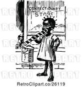 Vector Clip Art of Retro Black Girl Eating Candy by a Shop by Prawny Vintage
